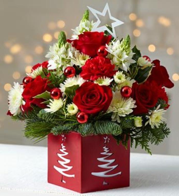 Букет цветов на новый год фото 1000 рублей