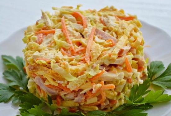 Салат курица морковь блины