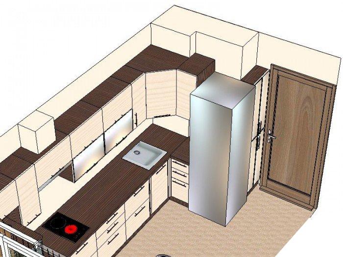Как сделать удобной типовую кухню 9 метров? варианты изготов.
