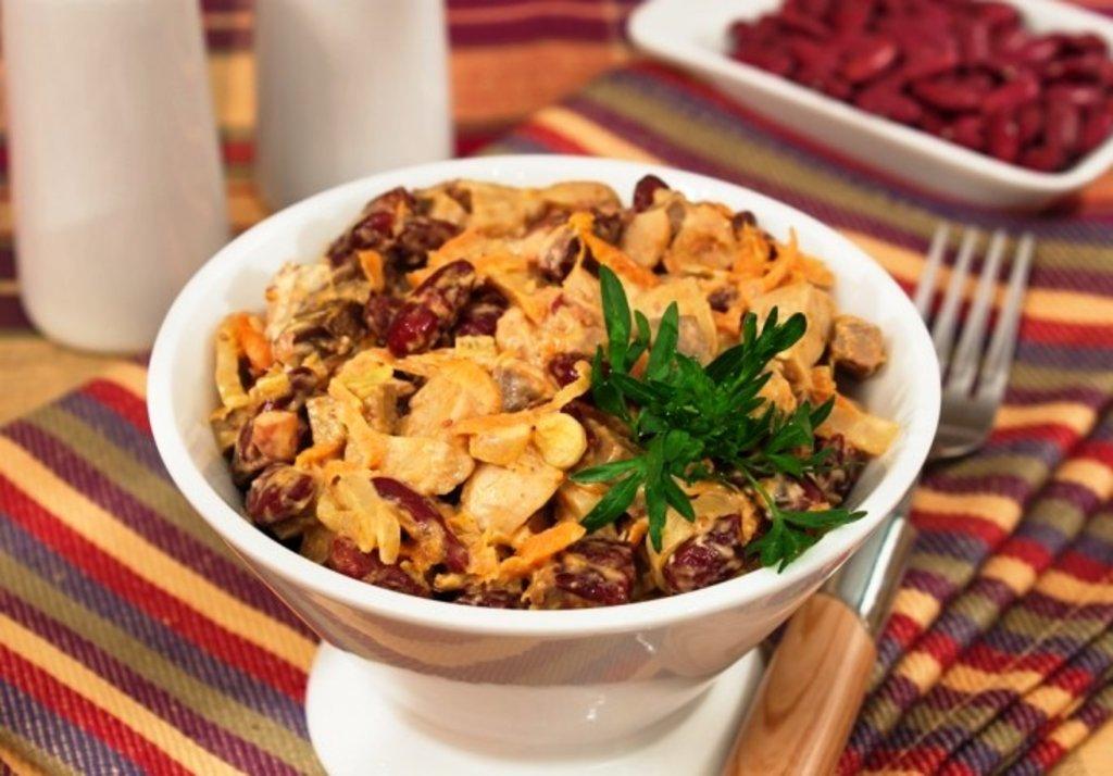 Салат с консервированной фасолью и печенью рецепт с