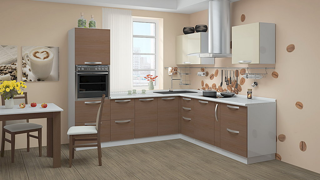 Белая кухня коричневый стол