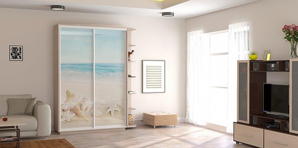Шкаф-купе оптим 2-х дверный, двери стекло белое с зеркалом, .