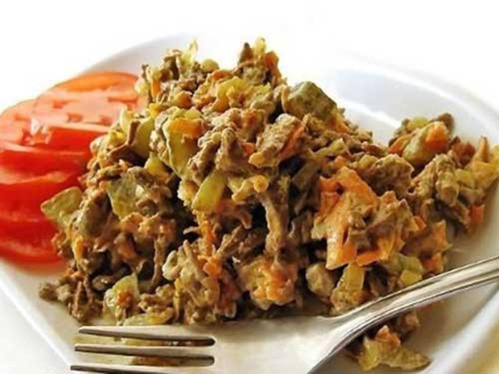 Салат из печени говяжьей с огурцом рецепт с очень вкусный