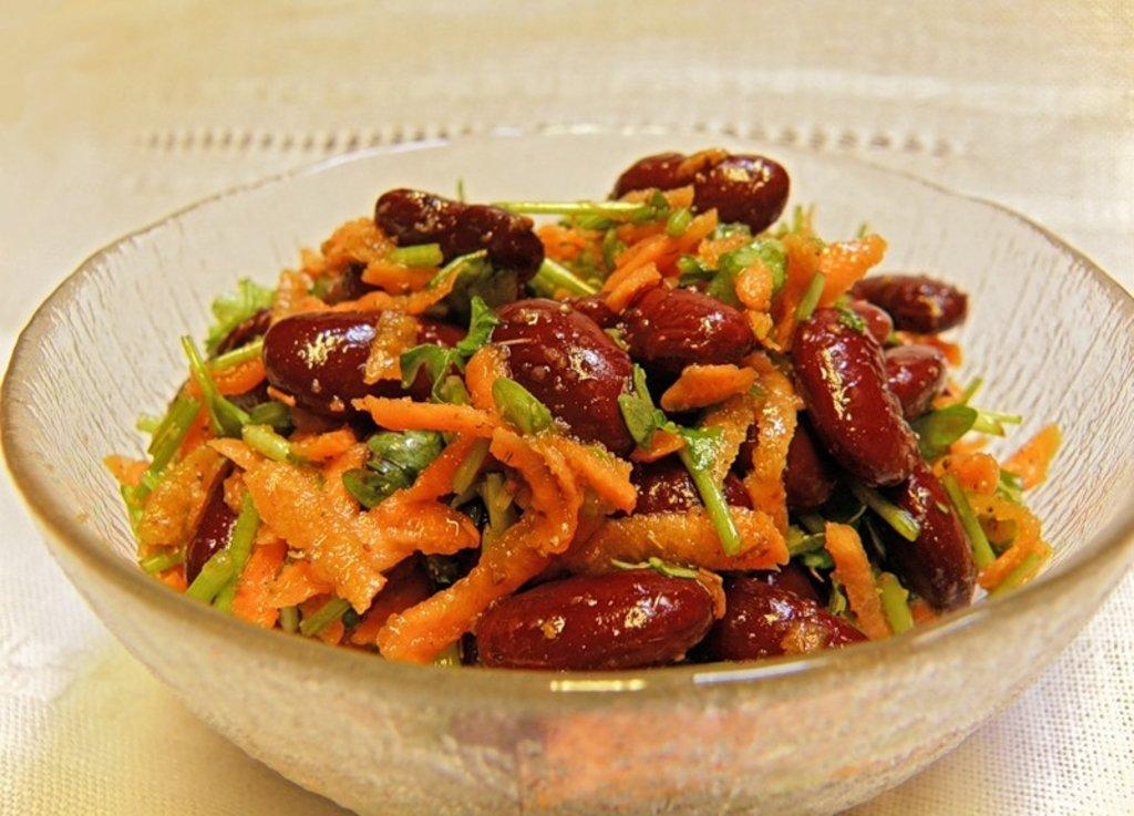 Салат с фасолью и корейской морковью рецепт