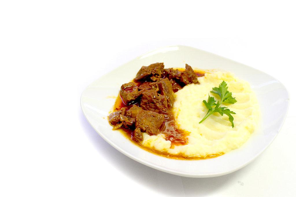 Пюре картофельное с подливкой из мяса