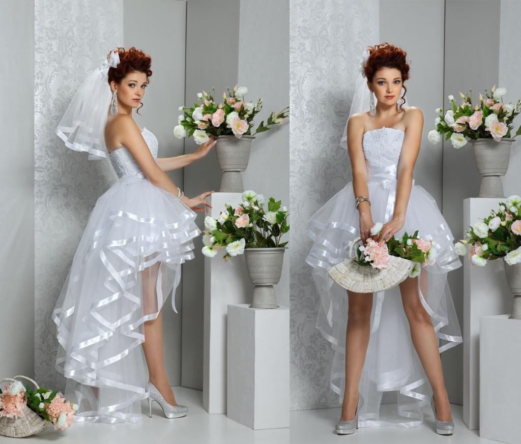 Свадебное Короткое Платье Со Шлейфом Купить