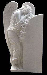 Мраморный памятник скорбящий ангел