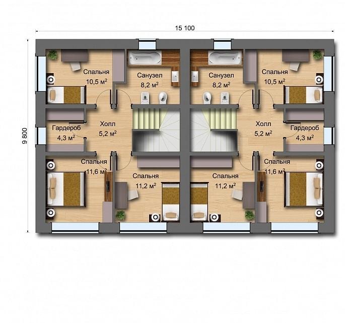 'Дуплекс (дом на две семьи)' - План1