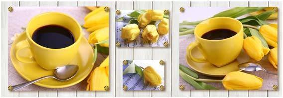 кухонный фартук желтые тюльпаны