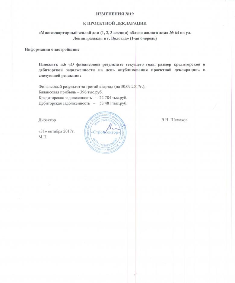 Изменение проектной декларации
