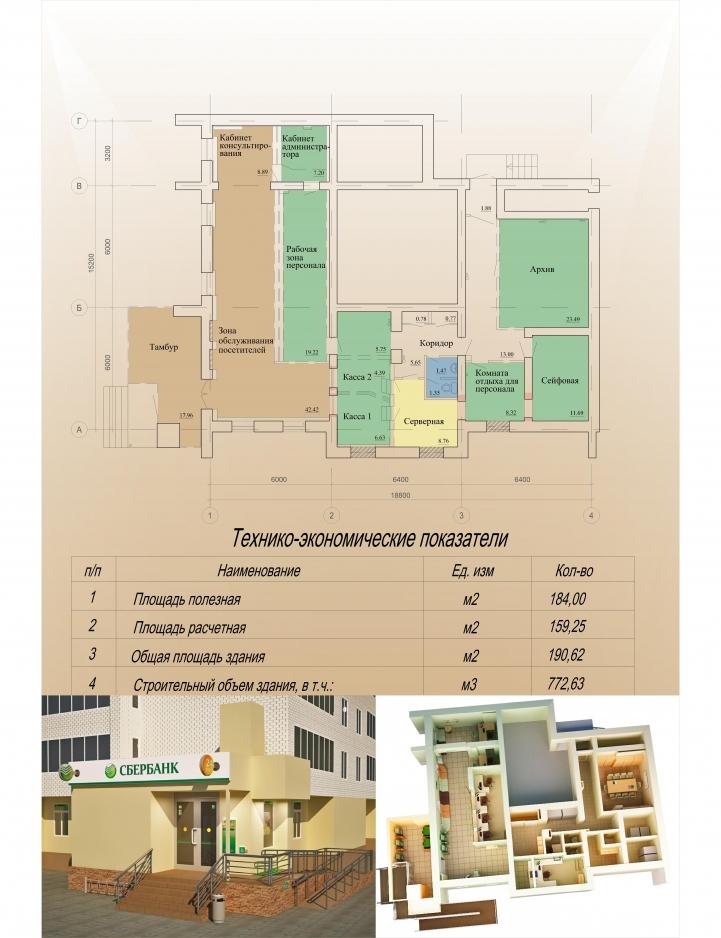 План реконструкции офиса Сбербанк