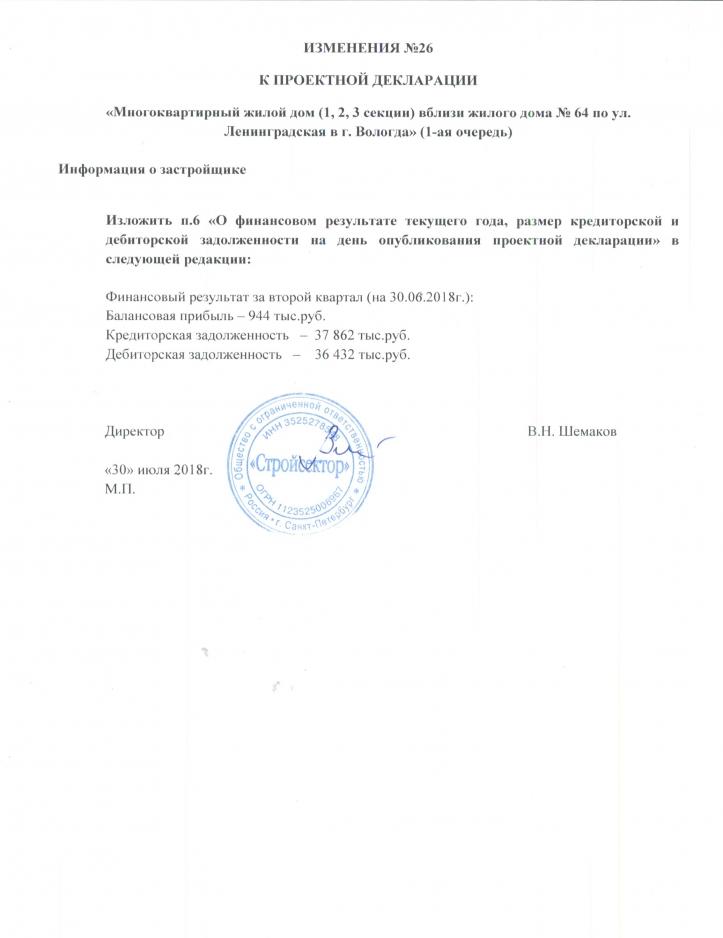Изменения к проектной декларации №26 застройщик Стройсектор