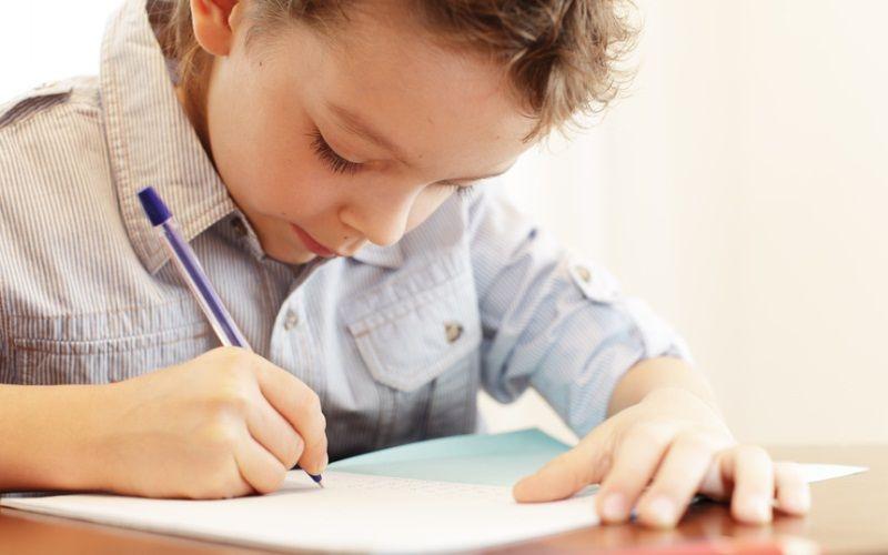 Мальчик пишет в тетрадь