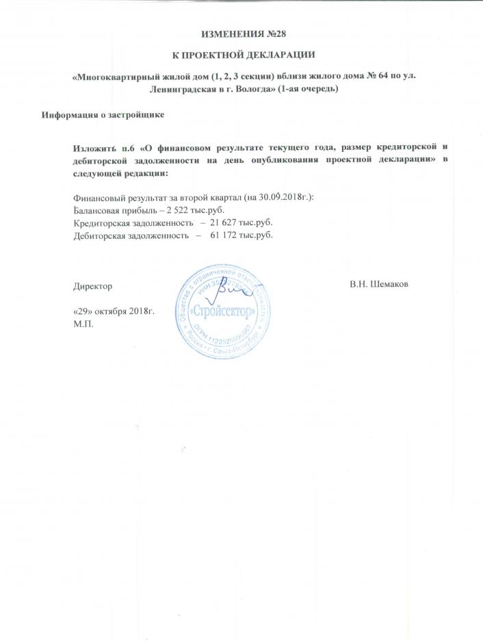 Изменения к проектной декларации