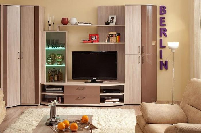 Модульная мебель в гостиную Berlin (Шоколадный глянец, Белый Глянец)
