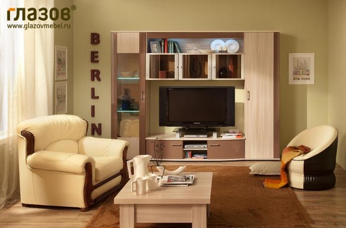 Модульная мебель в гостиную Berlin 2 (Шоколад глянец)