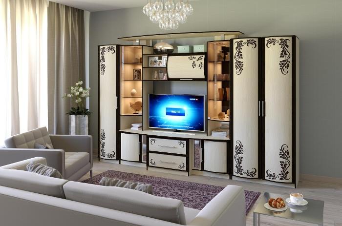 Модульная мебель в гостиную Кристина 3 с фотопечатью