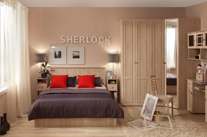 Модульная мебель в спальню SHERLOCK (Дуб Сонома, Ясень Анкор светлый)