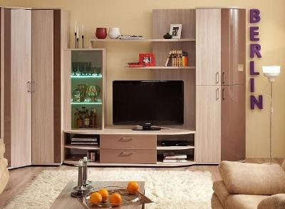 Модульная гостиная BERLIN 1 (Шоколад глянец, Белый глянец)