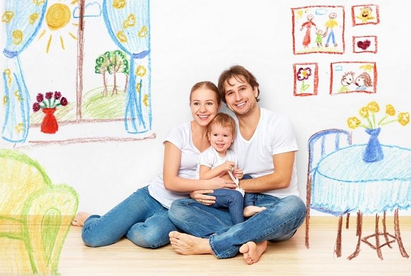 Семья в нарисованной обстановке