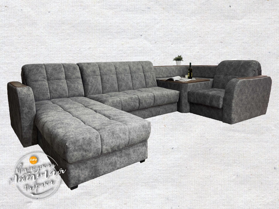 диван Соло 11 Микс с оттоманкой и столиком